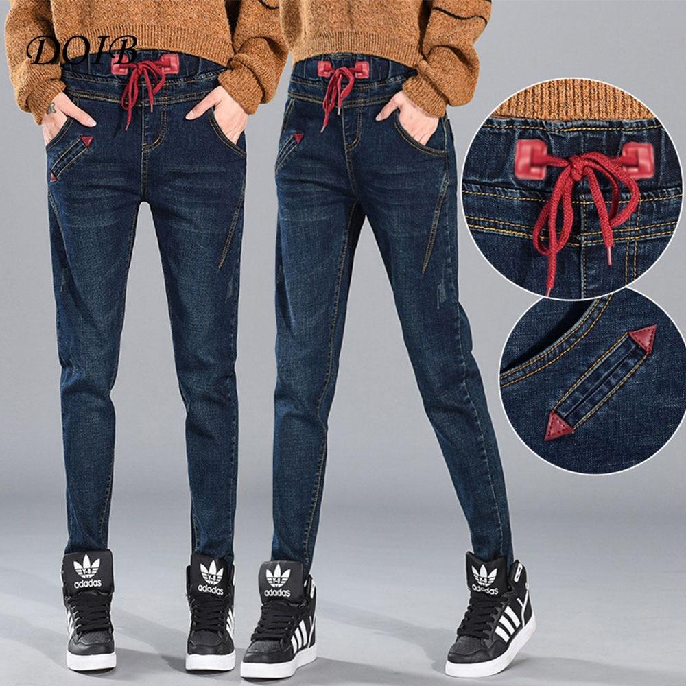 DOIB 2018 New Autumn Pencil Pants Vintage High Waist Jeans Womens Full Length Loose Ccowboy Plus Size 5XL 6XL