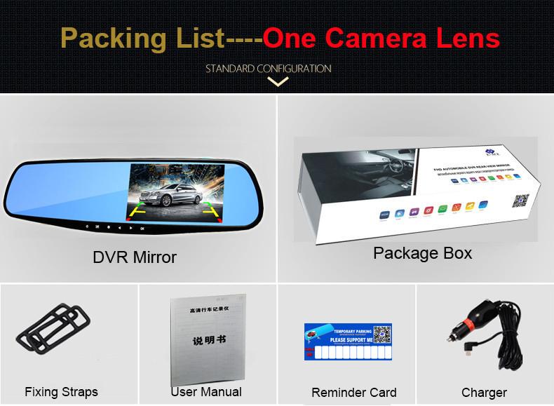 E-ACE Car Dvr 1080P Dual Lens Dash Camera Rear Mirror Digital Recorder With Rearview Camera Video Recorder Camcorder Registrar 26