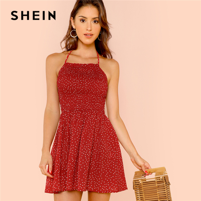 4b847a0bc868 SHEIN Burgundy Shirred Bodice Polka Dot Halterneck Dress Beach Vacation Backless  Dresses Women A Line Flared Summer Dress