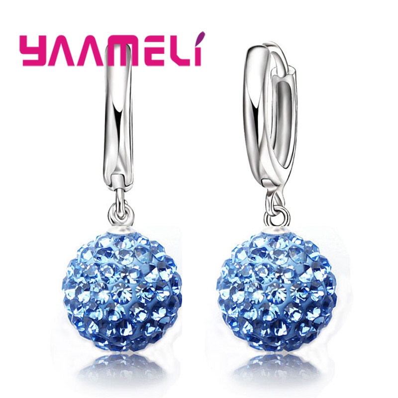 YAAMELI Hot Sale Multicolors One Pair 925 Sterling Silver Austrian Crystal Pave Disco Ball Hoop Lever back Earring Women Jewelry-in Drop Earrings from Jewelry & Accessories on Aliexpress.com | Alibaba Group