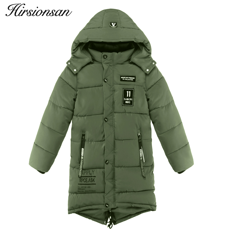 Hirsionsan Boys Winter Jacket Cute Letter Cotton Coat 2017 New  Winter Warm Thick Leisure Long Hooded Jackets for Girls casual 2016 winter jacket for boys warm jackets coats outerwears thick hooded down cotton jackets for children boy winter parkas