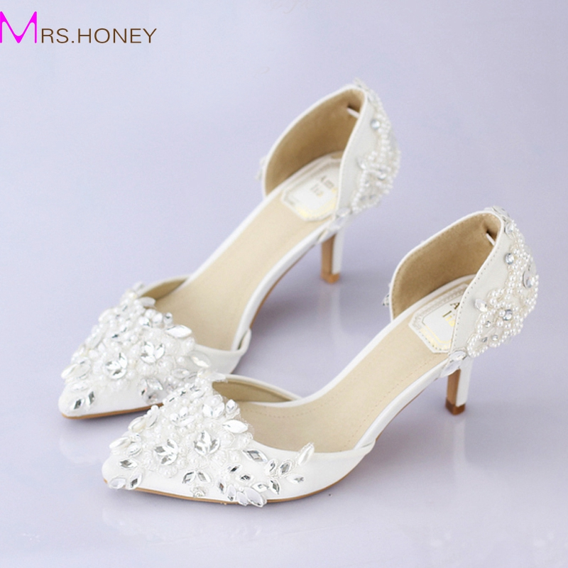 Cheap Pointed Toe Wedding Shoe Comfortable Middle Heel Bridal ...
