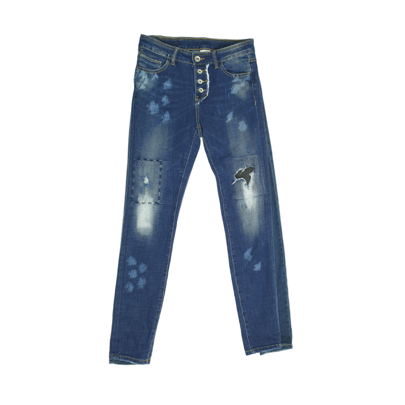 My Will Jeans Blue Denim Fashion Pop Hole Patch 7081 Made In China