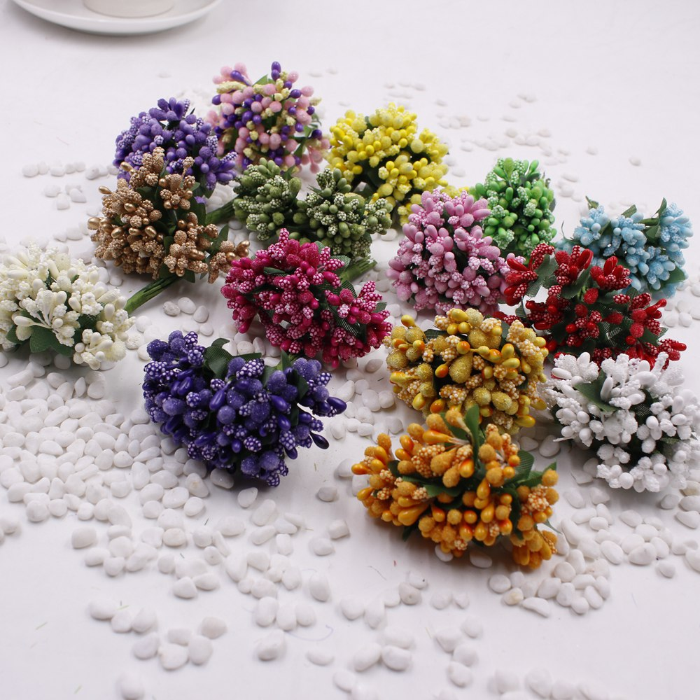 12 pcs stamen sugar handmade artificial flowers Cheap wedding decoration diy wreath needlework Gift box scrapbooking fake flower in Artificial Dried Flowers from Home Garden