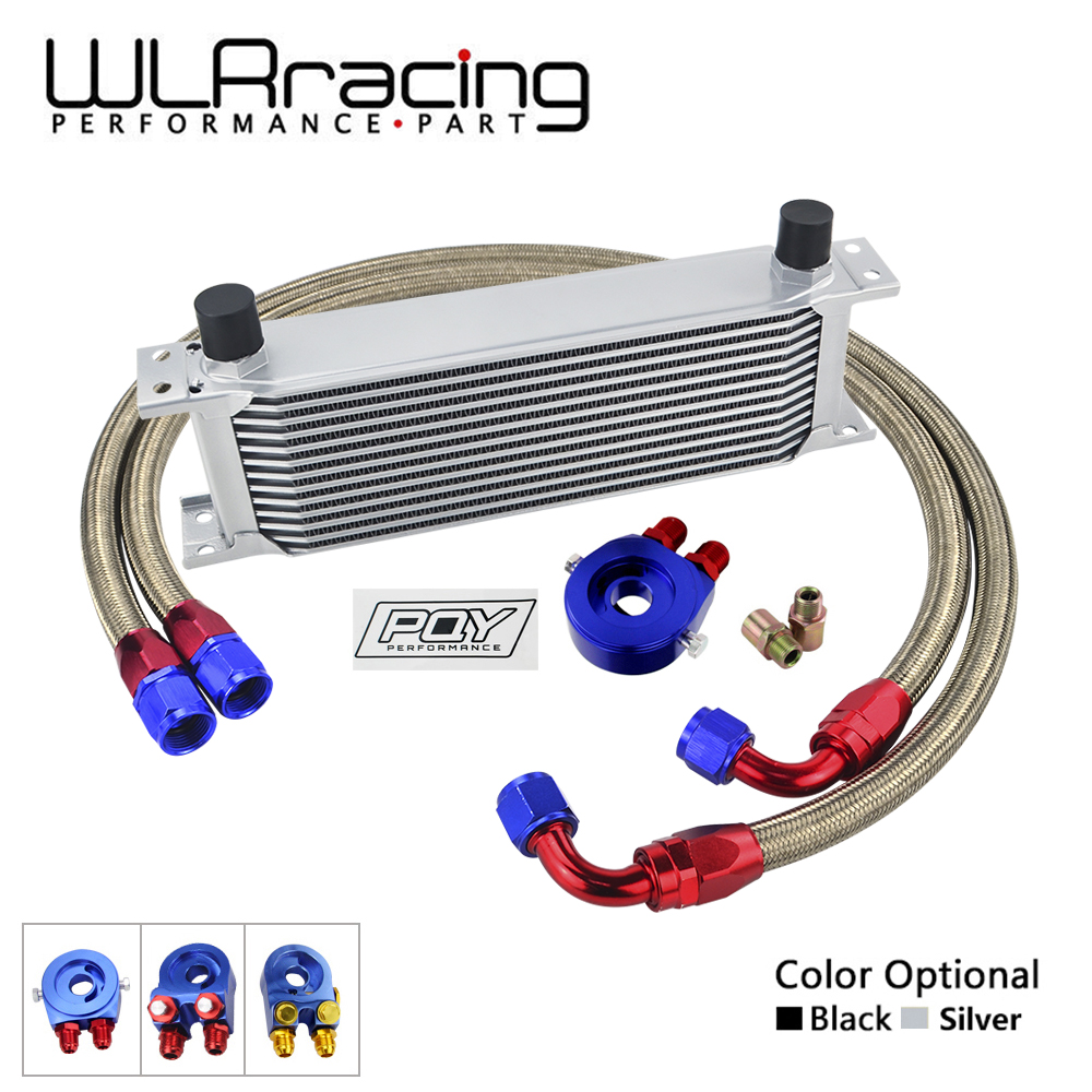 WLR - AN10 UNIVERSAL 13 ROWS OIL COOLER KIT +OIL FILTER SANDWICH ADAPTER + SS NYLON STAINLESS STEEL BRAIDED AN10 HOSE vr universal 13 rows oil cooler oil filter sandwich adapter ss nylon stainless steel braided an10 hose with pqy sticker box