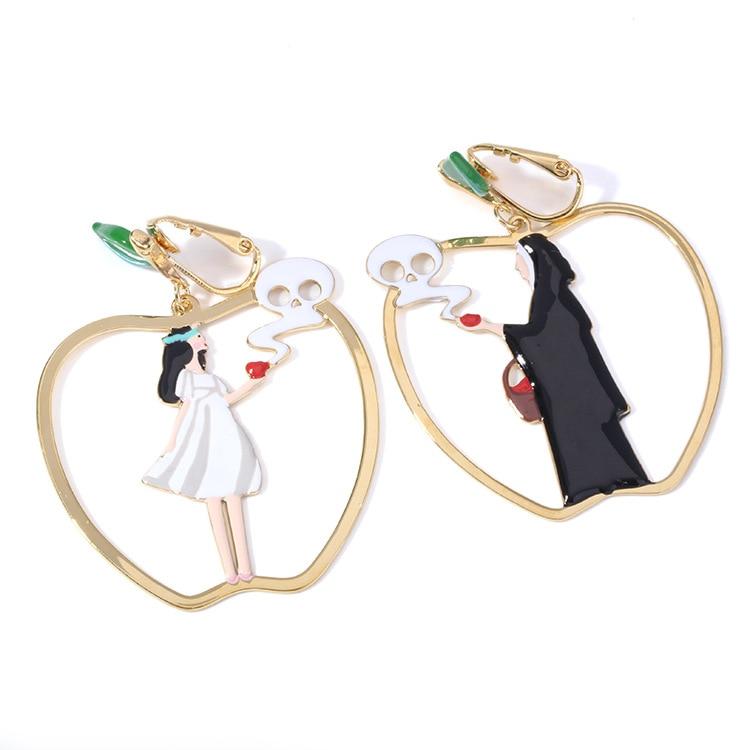 2018 Women Summer Designer Enamel Glaze Apple Earrings White Snow And Black Queen Asymmetric Drop Earrings in Drop Earrings from Jewelry Accessories