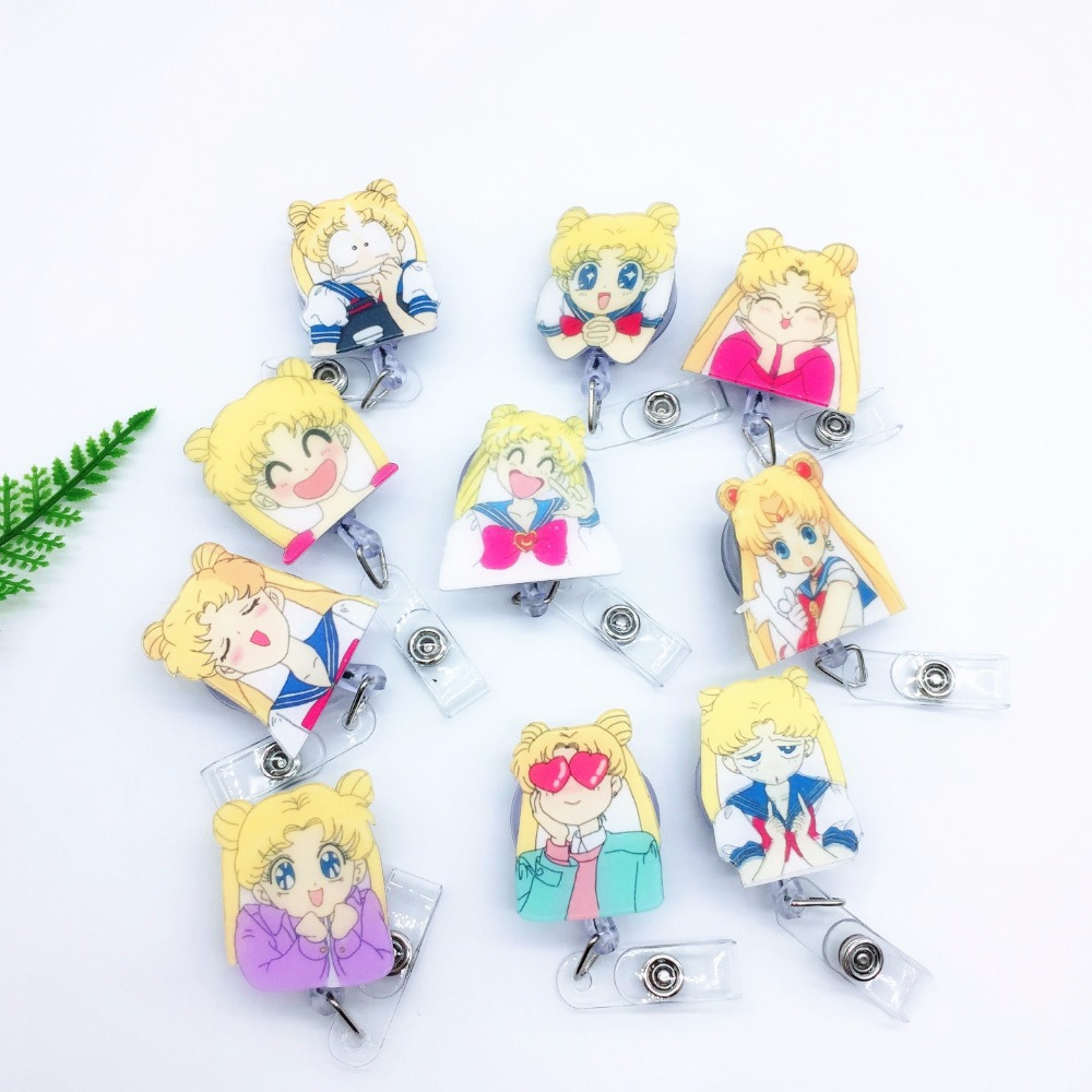 1pcs Cute Sailor Moon Retractable Badge Reel Student Exhibition ID Name Card Badge Holder Office Supplies