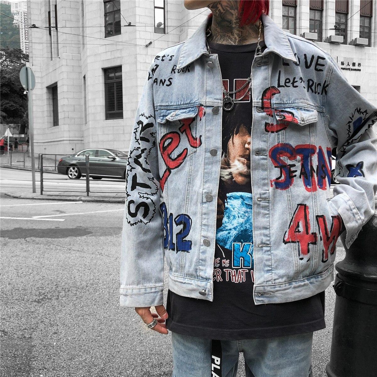 Liser 2019 Spring Mens Casual Denim Jacket Loose Oversized Jeans Jacket Men Plus Size Letter Doodle Streetwear Harajuku Jackets