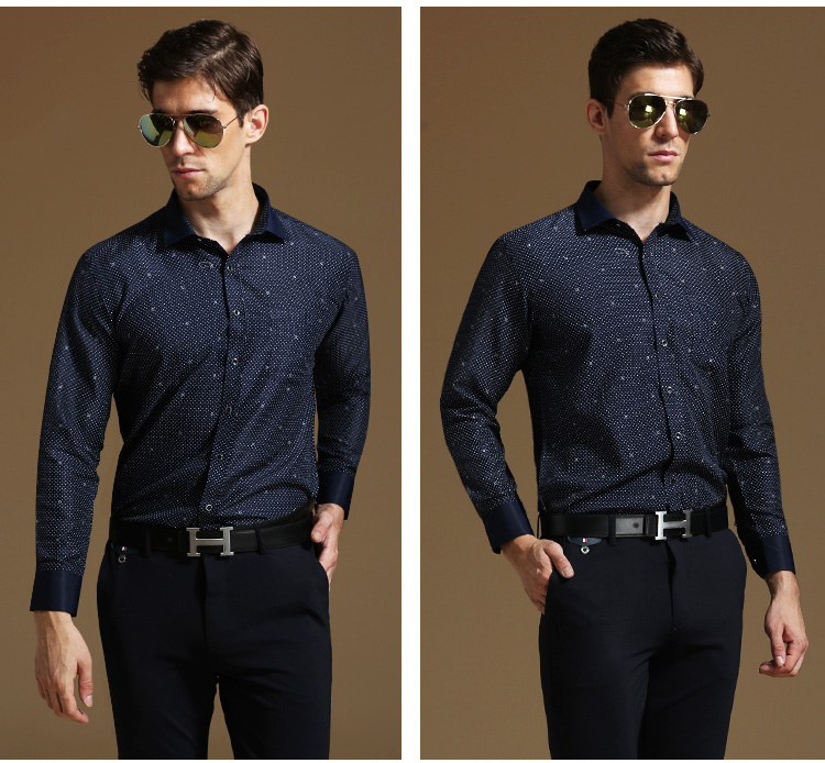 New High Quality Dark Blue Point Men Shirt Business Casual Wedding Party Fashion Decoration Ons Shirts Free Shipping In From S