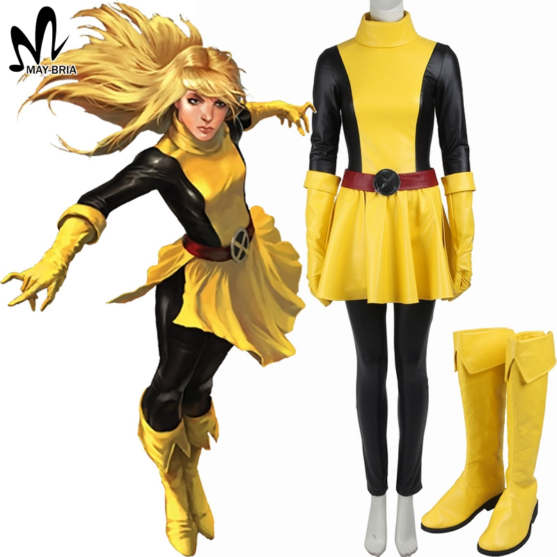 X-Men Magik cosplay Costume for adult Women Carnival costumes superhero women sexy leather suit long boots custom made