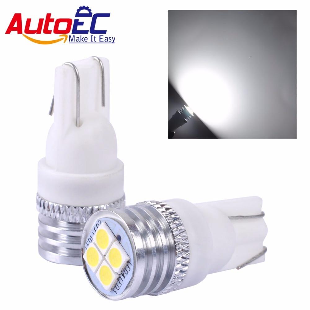 AutoEC 2x T10 3030 4 smd 194 168 W5W LED Turn Side License Plate Light Clearance Bulbs White DC12V-24V #LB241