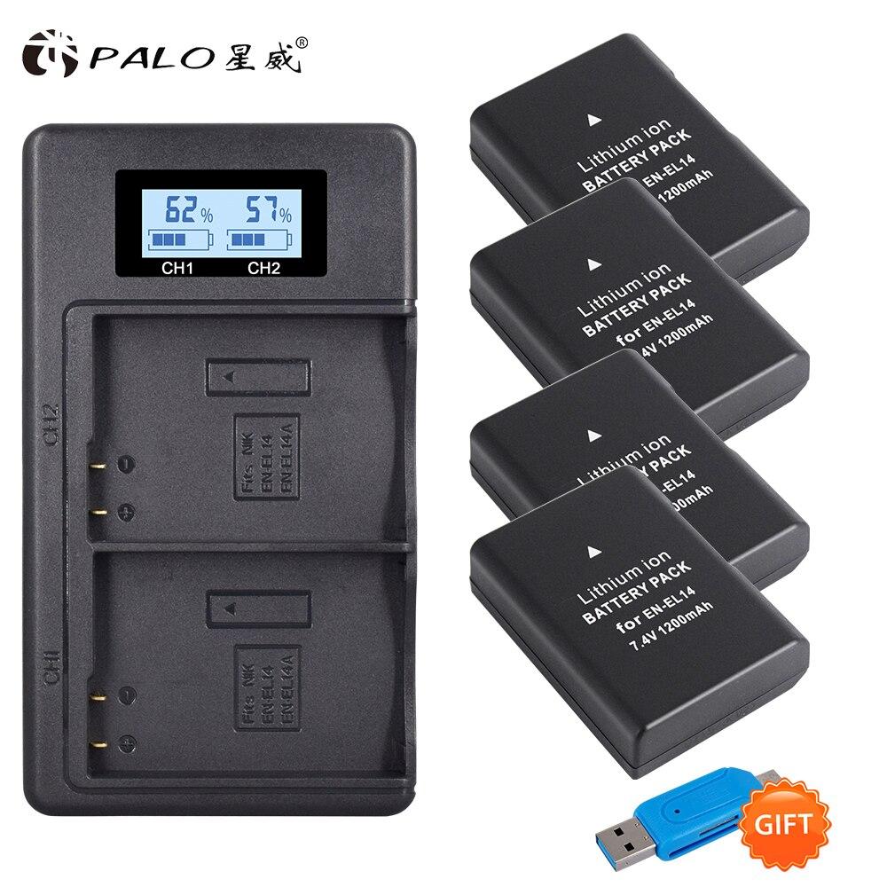 Palo 4 pièces EN-EL14 batterie pour appareil photo + écran LCD chargeur de batterie USB double chargeur pour Nikon P7100, P7700 D3100, D5100, D5200, D5300