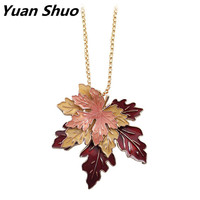 2016 Free Shipping European American Fashion Jewelry Wholesale Beautiful Maple Leaf Plants Long Necklace