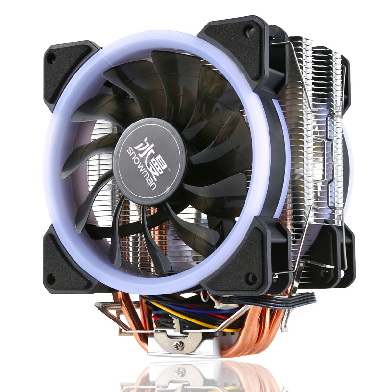 Universal RGB Computer CPU Cooler Fan 4Pin CPU Cooling Fans For Inter 775/1151/1155/1156 Heatsink 4/6 Heatpipe CPU Fan For AMD 90mm 3 pin cooling fans 6 heatpipe desktop computer cpu cooler fan bracket ultra quiet for intel i5 ga775 1150 1155 for amd am2