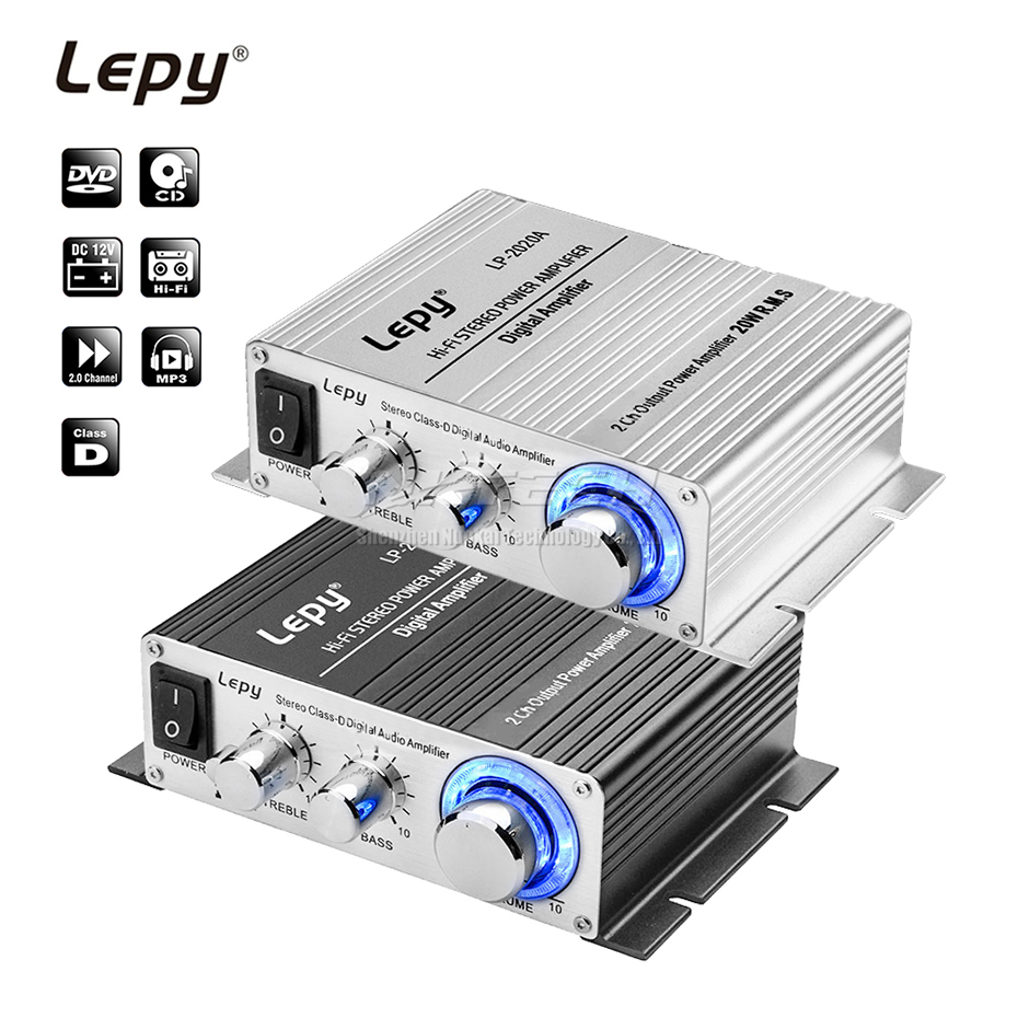LP-2020A Lepy Car Power Amplifier Digital Player Hi-Fi Stereo Class-D 2CH RMS 20W BASS Audio Professional DIY Music Home AMP MP3