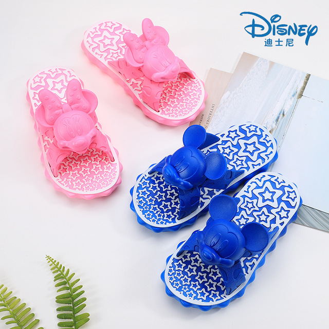 5fae5bc6bc0d0 Disney Slippers Summer Flip Flop Children s Sandals 3D Cartoon Mickey  Minnie School Girls Beach Slippers Kids