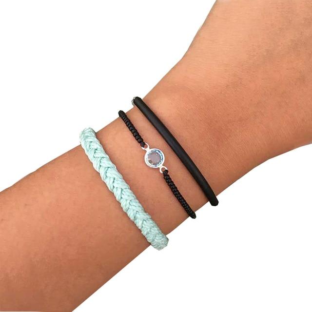 Jewellery Set Of 3 Waxed Cord Bracelets Surfer Waterproof Bracelet Black Bar Natural Stone Women