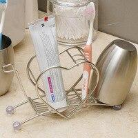 Coração de Aço inoxidável Em Forma de Creme Dental Escova de Dentes Copo Titular Organizador Caixa de Acessórios Do Banheiro Titular Pente Espessamento Sólida