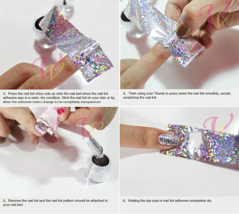 Fashion Holographic Nail Foil Transfer Stickers 4cm 100cm Silver