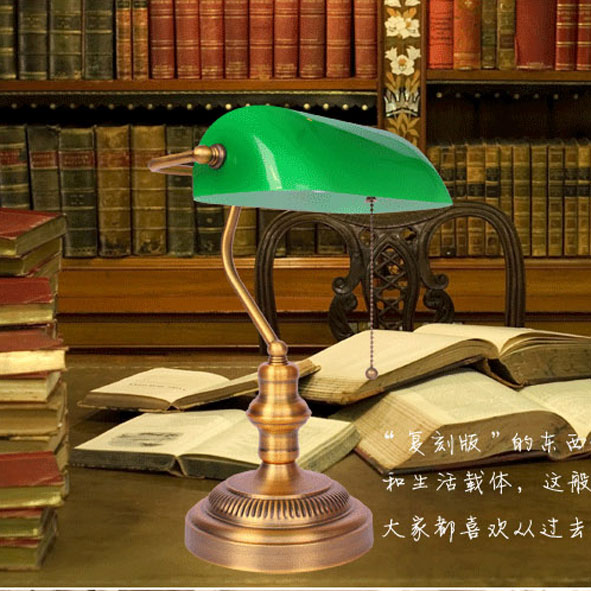 Bank Lamp Vintage Green Cover Table Lamp Bedroom Bedside Study Lamps Retro  Bedroom Bedside Lighting