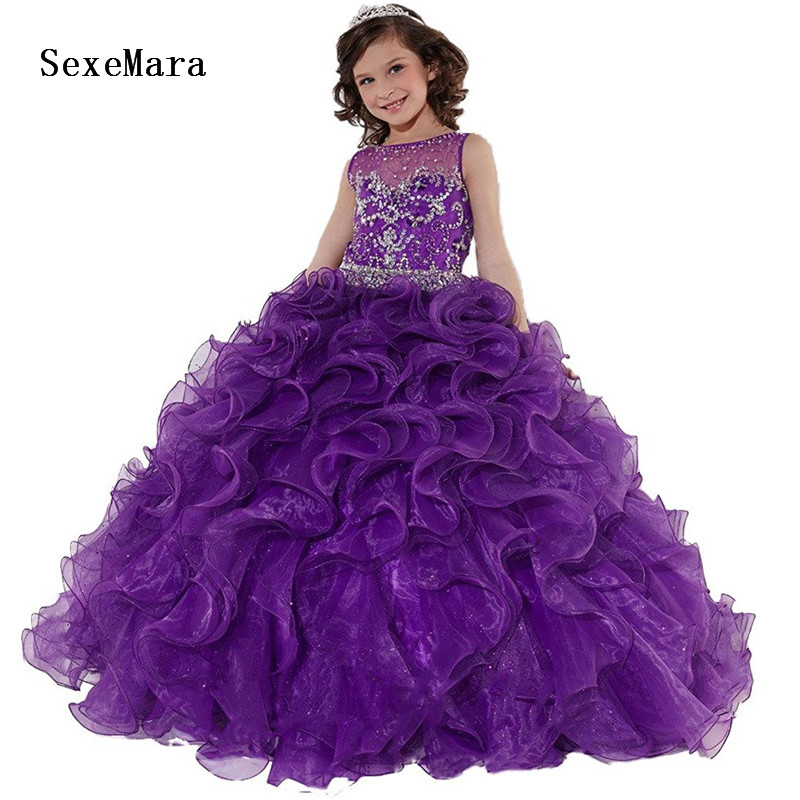 New Purple Organza Girls Pageant Dress Long Kids Ball Gowns Fancy Children Prom Gown Birthday Party Dress for Girls 2-16yearsNew Purple Organza Girls Pageant Dress Long Kids Ball Gowns Fancy Children Prom Gown Birthday Party Dress for Girls 2-16years