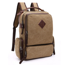 Men Capacity Canvas Leather Backpack for Teenager Multifunction Travel Schoolbags Laptop&computer Michila Bookbags Sac Enfant