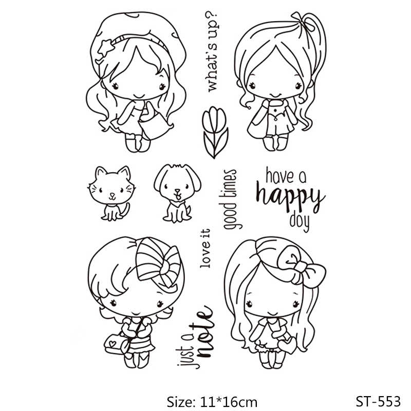 AZSG Fashion/Lovely/Pretty Girls/Woman Clear Stamps For DIY Scrapbooking/Card Making/Album Decorative Silicone Stamp Crafts
