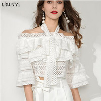 LXUNYI Sexy Hollow Out Lace Shirt Women Fashion White Ruffle Blouse Off Shoulder Tops 2018 Ladies