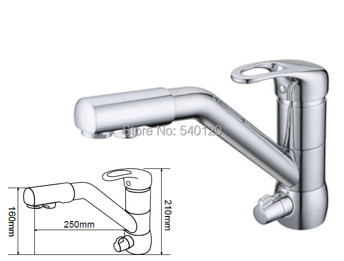 Kitchen Faucet mixer water filter Chrome Finished Ro drinking hot/cold water 3 way kitchen tap 100% brass chrome polished hot and cold water purifier tap 3 way kitchen sink mixer faucet 2 holes drinking water tap kf042
