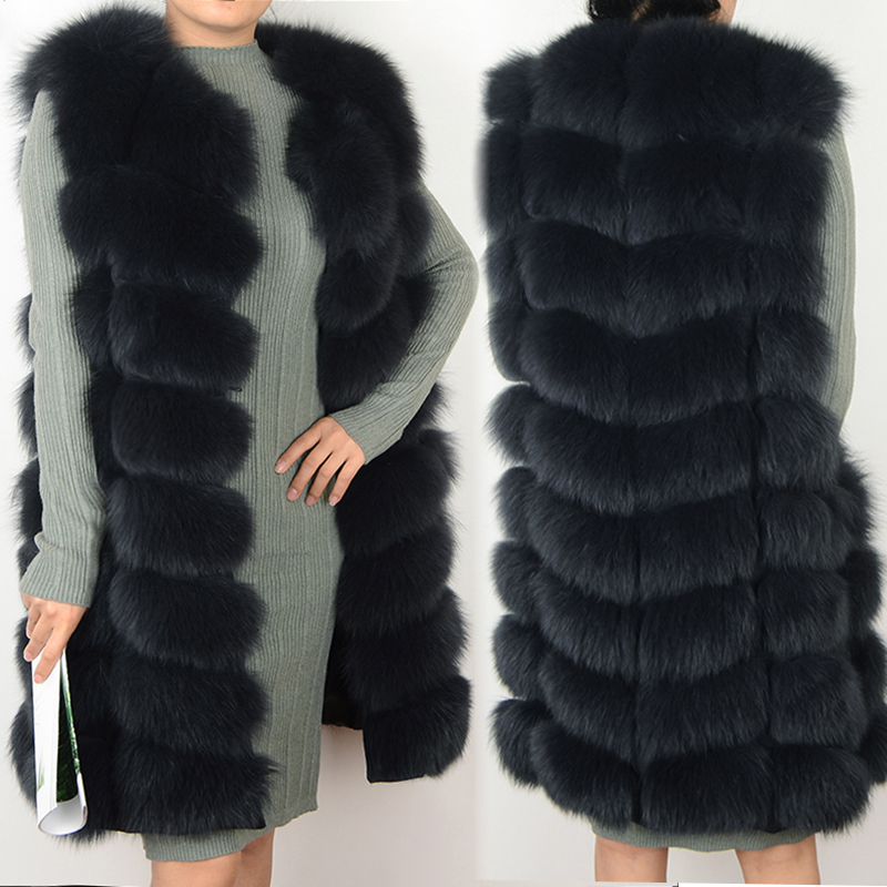 Female coat real fox fur vest Natural fox fur waistcoat warm winter coat Natural fur coat