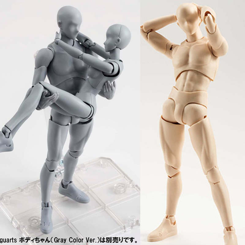 SH.Figuarts 15cm Sketch Body Kun/Body Chan DX Set Movable Male\Female PVC Action Figure Collectible Model Toys Model Solid Black male female movable body joint action figure toys artist art painting anime model doll mannequin art sketch draw human body doll