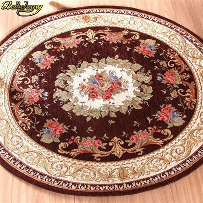 Beibehang Round Jacquard Carpet European Coffee Table Mats Door Non-slip Mats Living Room Dornier Carpet Home Decoration