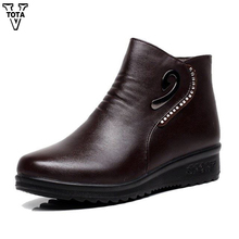 VTOTA 2018 Genuine leather women boots for winter warm women shoes non-slip waterproof ankle snow boots women platform shoes цены онлайн