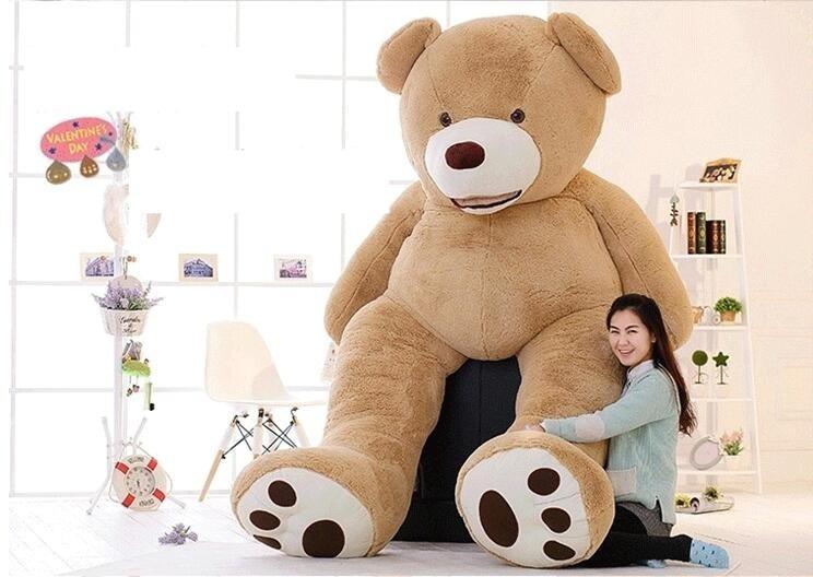 Дешевые 340 см Огромный гигантские плюшевые мишки большие огромный Браун плюшевые мягкая игрушка детская кукла девочка день рождения, Рожде