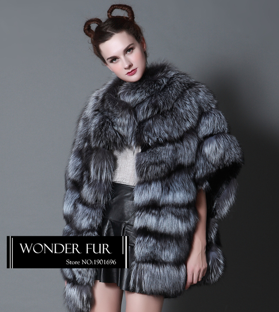 8d180e738 Sexy Style Silver Fox Fur Coat Winter Thick Natural Silver Fox Fur Jacket  For Women Striped Whole Skin Real Fox Fur Overcoat