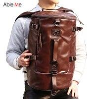AbleMe New Men Travel Bags Backpack Large Bucket Shape PU Leather Portable Handbag Men Luggage Bag