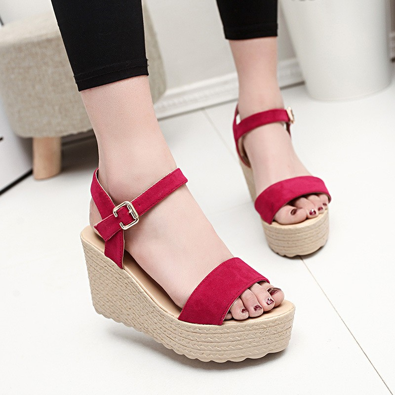 2016 new summer women wedges sandals Thick Soled Shoes Solid 4 colors open toe Women Ladies Sandals HSD06 (9)