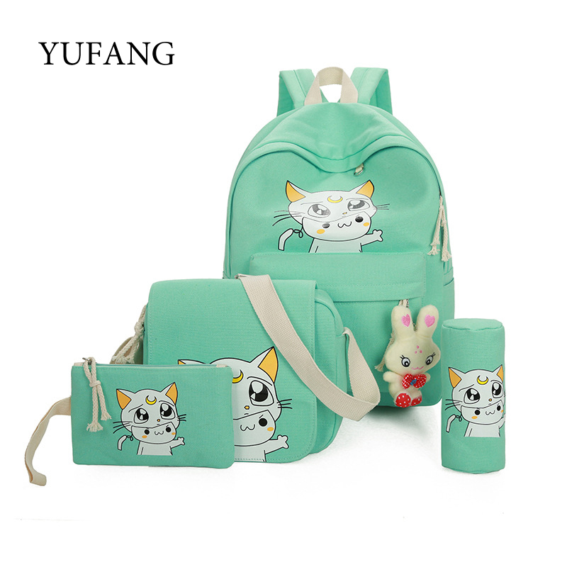YUFANG Canvas Backpack Women School Bag for Teenagers Girls Preppy Style Daypack Composite Bags Set Travel Backpacks Female purple flowers printed dream teenagers backpack fresh preppy adorable sthdents school bags fashion travel hiking computer bag