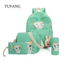 Yufang холст рюкзак женщины школьная сумка для подростков девочек элегантный дизайн рюкзака композитный сумки набор туристические рюкзаки женщина