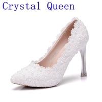 Kristal Kraliçe Moda Tatlı Pompalar Ayakkabı Kadın Yüksek Topuklu Prenses Düğün Ayakkabı Beyaz Dantel Topuklu Womemn Zarif Ayakkabı