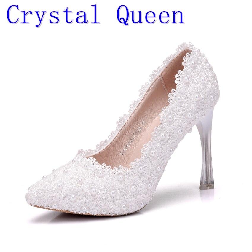 ce1e9041ce0ad Kryształ królowa mody słodkie pompy buty damskie buty na wysokim obcasie  buty ślubne księżniczka białe koronkowe obcasy south park koszulkę homme  eleganckie ...