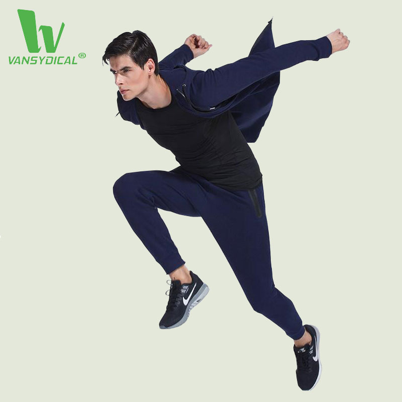 VANSYDICAL Mens Sports Suits Gym Sportswear Autumn Winter Running Set Windproof Fitness Tracksuits Training Jogging Jogger Suits