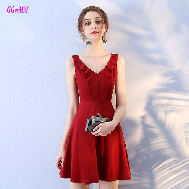 Glamor Merah Gaun Koktail 2018 Baru Seksi Strapless Satin Mini Lurus