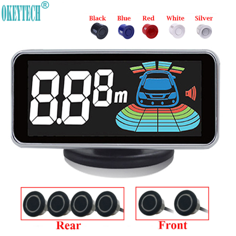 OkeyTech Best 6 capteurs capteur de stationnement détecteur de Radar de recul LED système d'alarme d'aide au stationnement de voiture numérique pour toutes les voitures