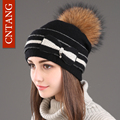 CNTANG Women's Big Bow Winter Hats Knitted Wool Warm Fur Natural Hat With Pompom Female Fashion Real Raccoon Caps Casual Beanies