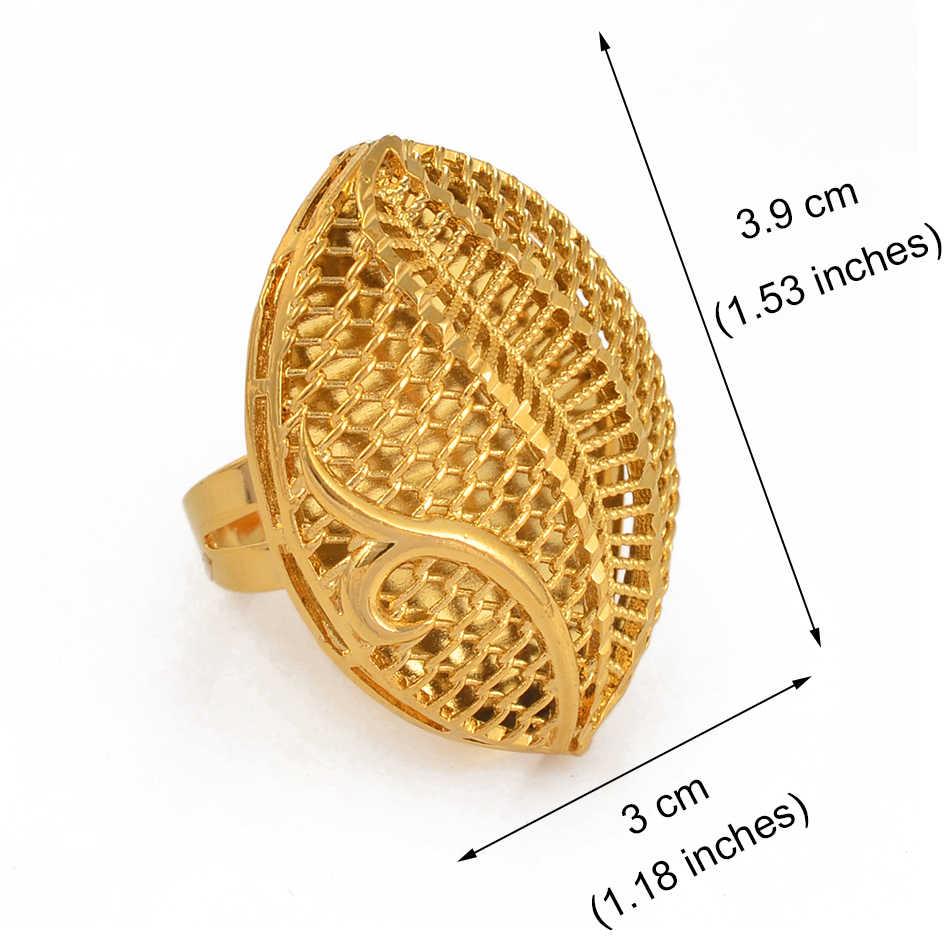 Anniyo регулируемое большое кольцо для женщин, Африканское ювелирное изделие, эфиопское Золотое свадебное кольцо, увеличенное кольцо #197506