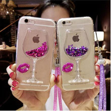 note 9 3D Liquid Quicksand Bling Wine Glass Phone Case For Samsung S8 S9 Plus S7 S6 Note 5 note 8 For iPhone XR XS Max 6 7 8 Plu(China)