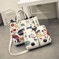 2pcs/set 2017 women's handbag fashion brief picture package big bags doodle print female handbag shoulder bag free shipping