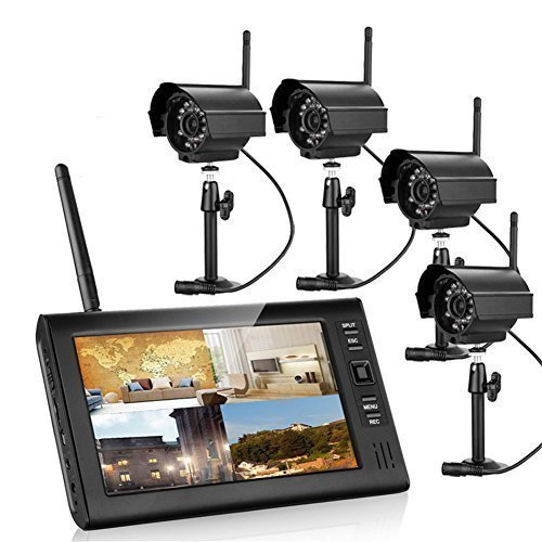 7 Inch TFT Digital 2.4G Wireless Cameras Audio Video Baby Monitors 4ch Quad DVR Security System with IR Night Vision Cameras