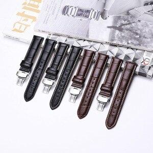 Image 3 - Istrap 本革ウォッチバンドバタフライバックルバンドクロコ穀物ブレスレット腕時計でサイズ 12 13 14 16 17 18 19 20 21 22 24 ミリメートル
